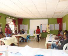 Atelier de renforcement des capacités de 20 agents de l'AFPDE en connaissances de base sur l'approche sensible du traumatisme et sur les standards dans le travail.